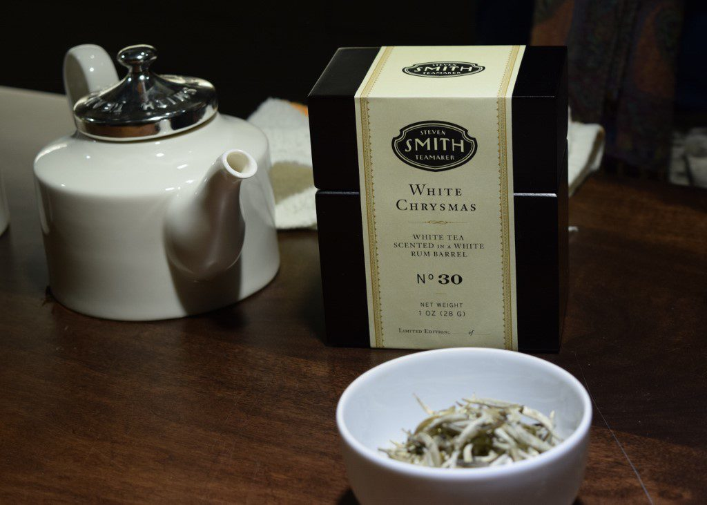 White Chrysmas is a white tea scented in a white rum barrel. The tea is clear in the cup, but the flavor are scent are wonderfully rich.