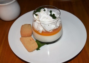 Cane & Canoe panna cotta with coconut cream and passionfruit puree.
