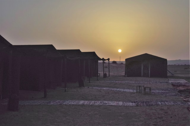 The sun rises over our camp.