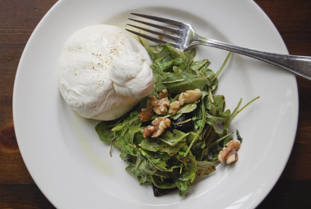 Tresori's burrata insalata, with house-made bufala mozzarella.