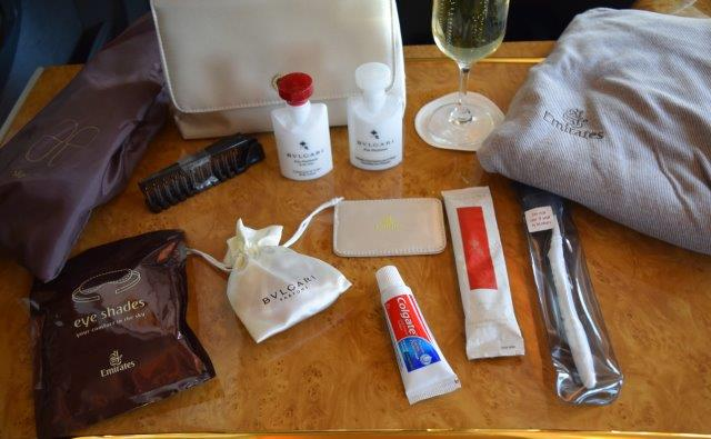 The amenity bag from Emirates Air.