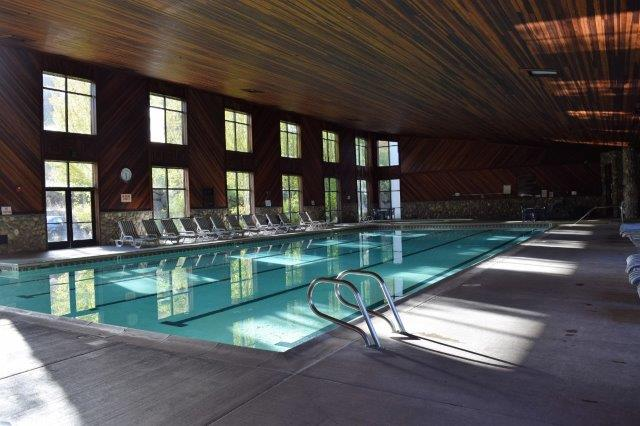 The pool's redwood paneling--and mineral hot springs water--make the pool inviting.