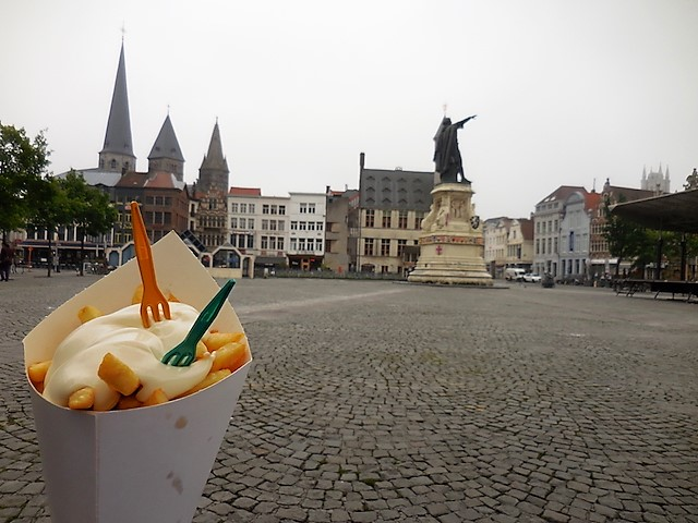 Frietes take center stage in Ghent, where they come with mayonnaise. (These, from Frituur Josef.)