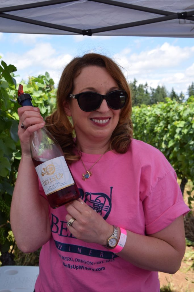 Sara Specter of Bells Up Winery at Drink Pink Rose Wine Festival (Photo by Nancy Zaffaro)