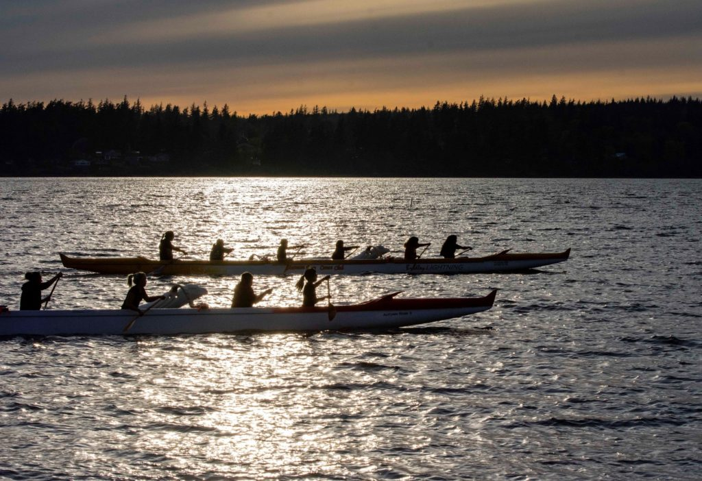 On the water during the Paddle to Lummi canoe journey