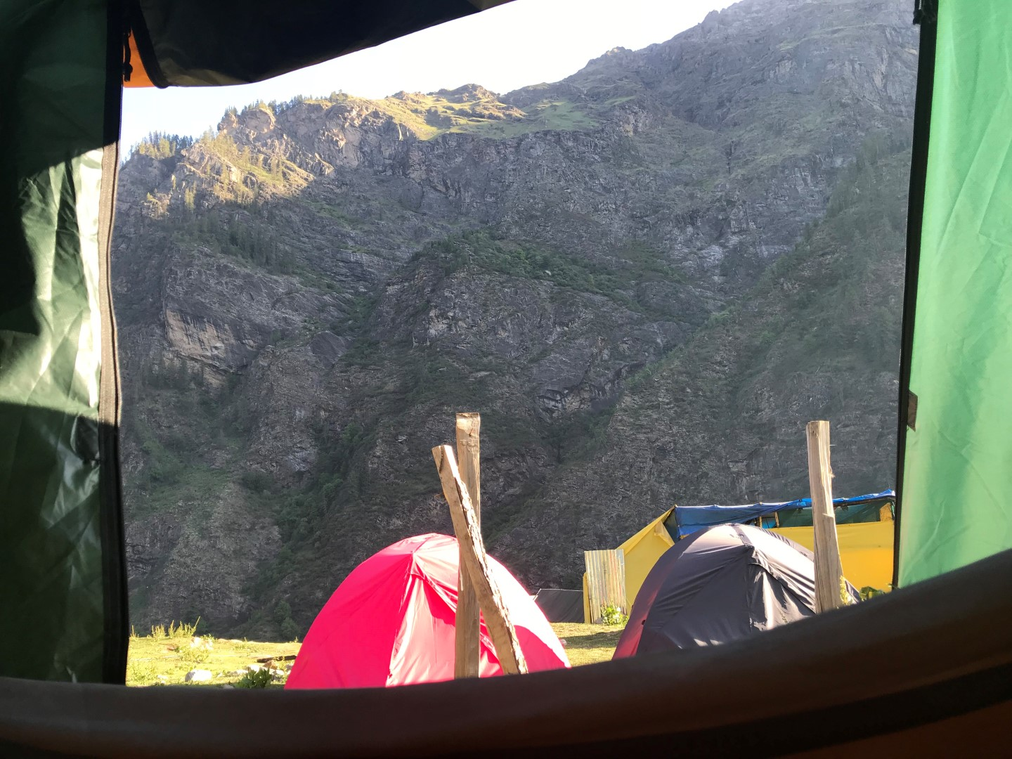 view of the mountains from our tent